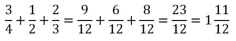 Suma de tres fracciones